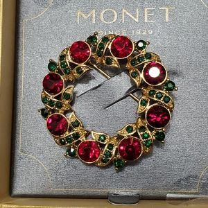 Monet gold tone red and green rhinestone brooch